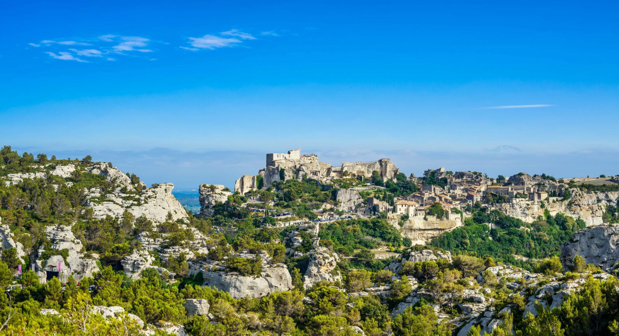 Les Baux de Provence village panoramic view. France, Europe.