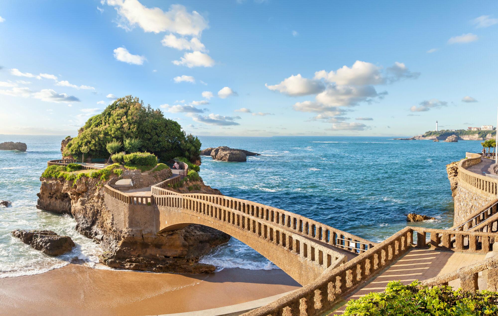 Bridge to the island in Biarritz