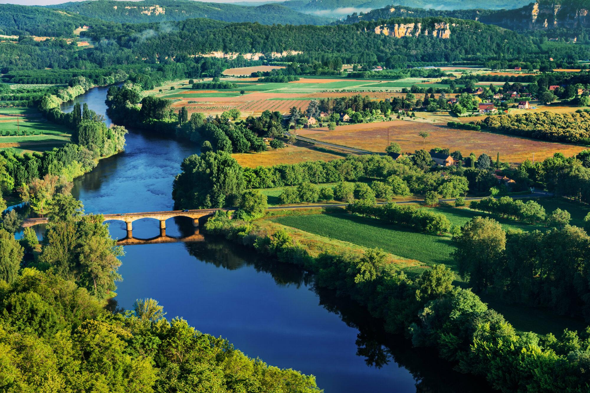 medevial bridge over the dordogne river perigord france