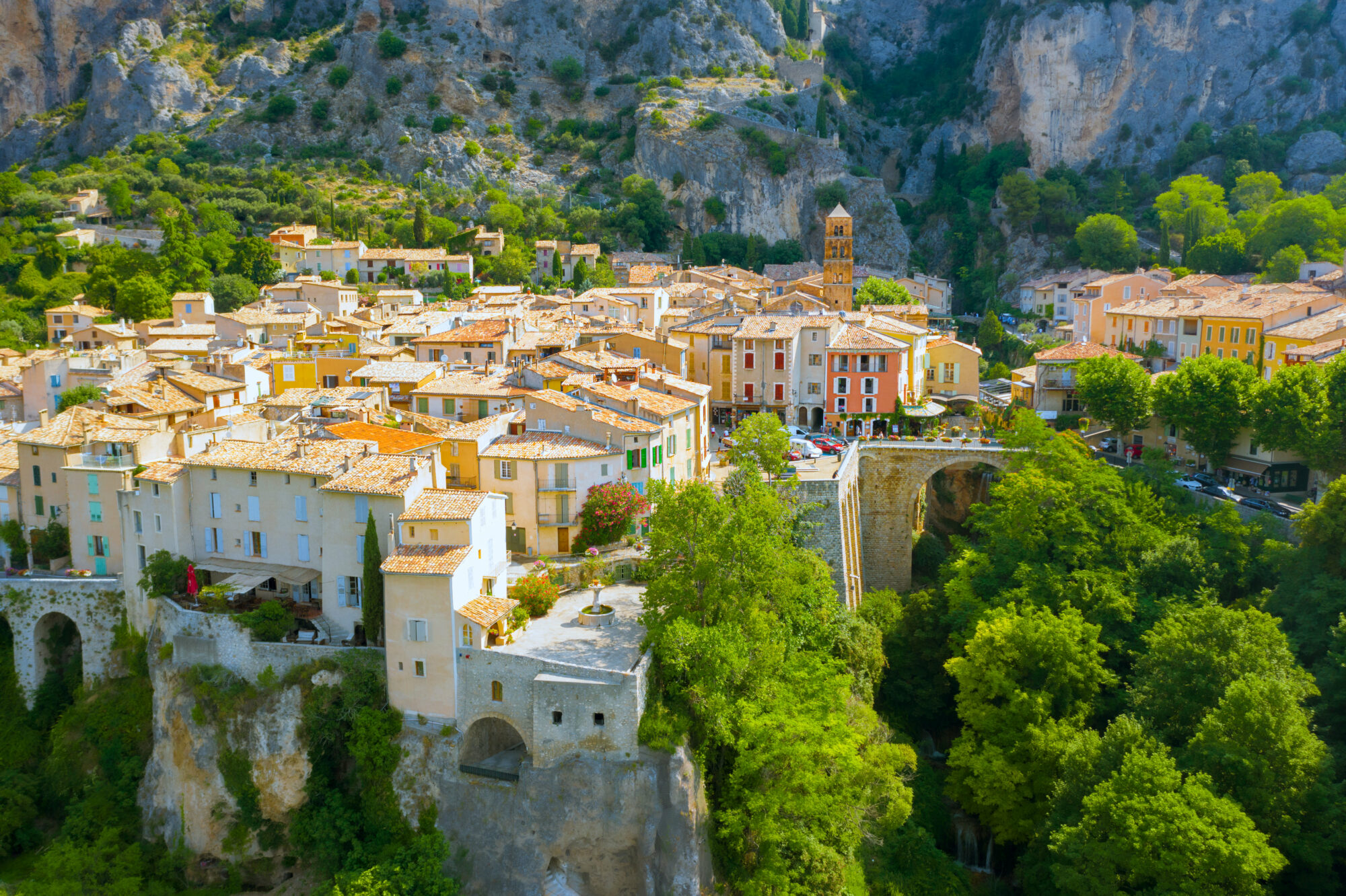 The Village of Moustiers-Sainte-Marie, Provence, Southern France