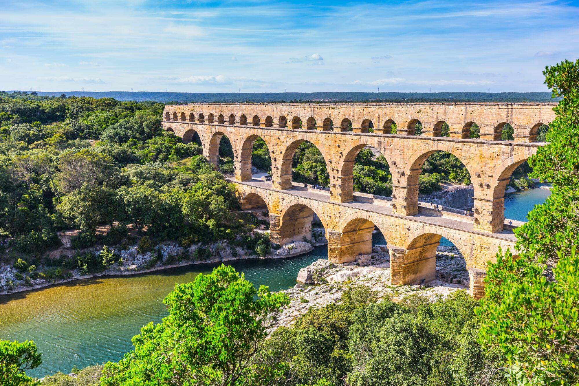 Three-tiered aqueduct Pont du Gard and naturalpark
